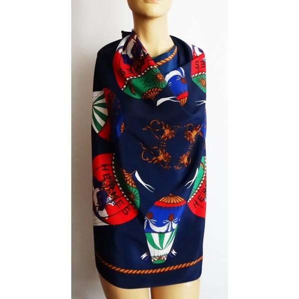 HERMES Paris vintage 1980's голям дамски шал 100% коприна Оригинал