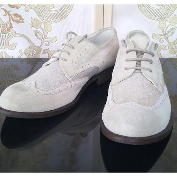 NAVVI мъжки обувки естествена кожа и лен Нови