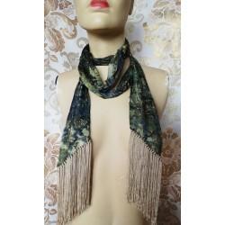 Дълъг дамски шал с ресни 100% коприна